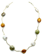 Freshwater Multi-Colour Coin 12 mm Pearl Necklace 14k Yellow Gold Spacer 16 1/2""