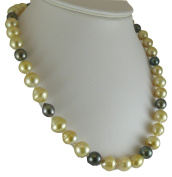 South Sea Multicolor Pearl Necklace 12.1x13.1mm - 9.2mm x 8.9mm 14K Yellow Gold Clasp
