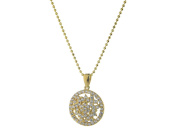 18k Gold Plated Sterling Silver Sublime CZ Circle Pendant Necklace, 41cm