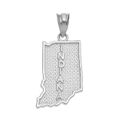 Indiana State IN Map Charm Pendant in 10k White Gold