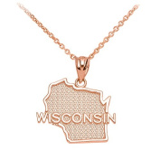 Wisconsin State WI Map Pendant Necklace in 10k Rose Gold