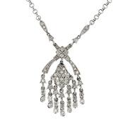 Diamond Necklace, White Gold Diamond Dangel Necklace