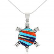 Turtle Necklace in Genuine Semiprecious Gemstones & 925 Sterling Silver Pendant with 50cm Chain