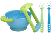 NUK Mash and Serve Bowl with Silicone Feeding Spoon Set, Green/Blue