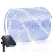 Solar Lights Outdoor,Oak Leaf 12m 100LED Waterproof Copper Wire Rope String Lights For Garden,Yard,Path,Backyard,Patio,White