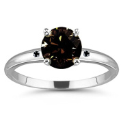 RINGJEWEL 2.48 ct VS1 Round Real Moissanite Solitaire Engagement Silver Plated Ring Brown Colour Size 7