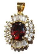 Oval Red Baguette Cubic Zirconia 18k Gold Plated Pendant with 50cm Chain