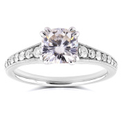 14k White Gold Antique Moissanite and Diamond Engagement Ring 1 1/3 CTW