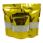 Doypack Aluminium Foil Pack Bag With Window Coffee Snack Clear Golden Stand Up Heat Seal Mylar Zipper Pouch 100 Pieces 10x15cm