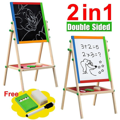 go2buy Adjustable Children Kids Double-sided Standing Easel 2 In 1 Black / White Wooden Easel Chalk Drawing Board