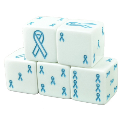 Set of 5 White Dice 19mm Blue Ribbon Cancer Awareness in Snow Organza Bag