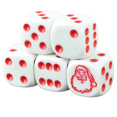 Set of 5 Santa Claus White Dice Round Corner Opaque 16mm Red Spots in Snow Organza Bag