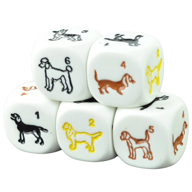 Set of 5 Dog White Dice Round Corner Opaque 16mm Coloured Spots in Snow Organza Bag