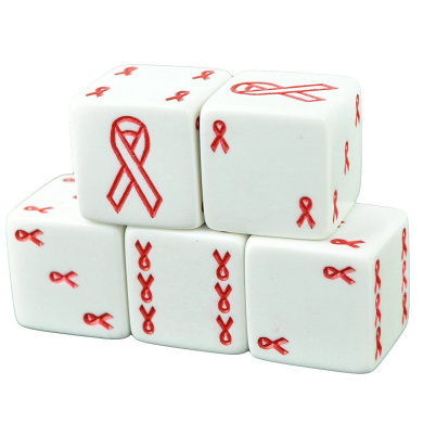Set of 5 White Dice 19mm Red Ribbon AIDS Awareness in Snow Organza Bag