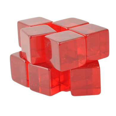 Set of 10 - 16mm Transparent Counting Cubes Blank Dice Red in Snow Organza Bag