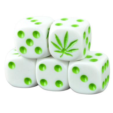 Set of 5 Marijuana White Dice Round Corner Opaque 16mm Green Spots in Snow Organza Bag
