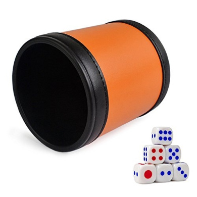 PU Leather Dice Cup Set with 6 Poker Dice (Orange, Pack of 1)