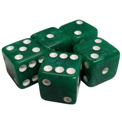 Set of 5 Green Marbleized Dice Square Corner 16mm Opaque White Spots in Snow Organza Bag