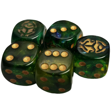 Set of 5 Green Gold Beetle Dice Round Corner Opaque 16mm Black Spots in Snow Organza Bag