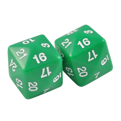 Set of Two 24 Sided Jumbo Polyhedral Green & White Dice in Snow Organza Bag