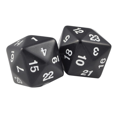 Set of Two 24 Sided Jumbo Polyhedral Black & White Dice in Snow Organza Bag