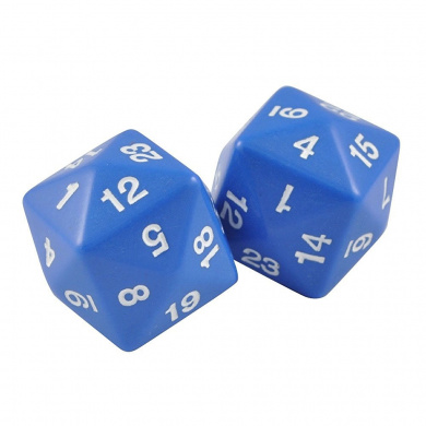 Set of Two 24 Sided Jumbo Polyhedral Blue & White Dice in Snow Organza Bag
