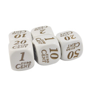Set of 5 Educational Dice Euro Currency Cents 19mm White Dice in Snow Organza Bag