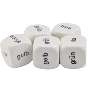 Set of 5 Educational Dice German Colours 19mm White Dice in Snow Organza Bag