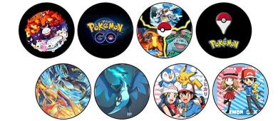 """Pokemon Go Pin 8 pc set 75mm/2.95"""" each"""