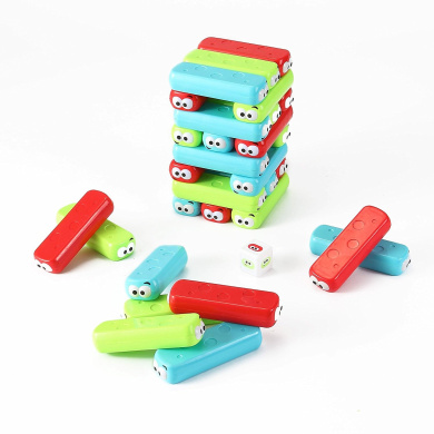 Classic Colourful Cartoon Tumbling Tower Game (30 PCS) w/ Cartoon Dice by Kinder Toys