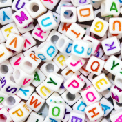 Goodlucky 800 Pcs Acrylic Letter Beads White Alphabet Beads with Colourful Letters for DIY Bracelets, Necklaces, Children's Educational Toys, Handmade Gift