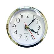 6.4cm Craft White Clock Insert with Gold Plastic Rim, Quartz Movement