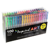 Gel Pen Set for Colouring - 100 Unique Colours (No Duplicates) Superior Quality, Free Flowing. XXL Pack Size - 60% Extra Ink. Includes Glitter Pens, Metallic, Neon, Pastel, Fluorescent & Classic Shades