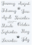 Pink & Main PM0140 Month Script Clear Stamps, 7.6cm by 10cm