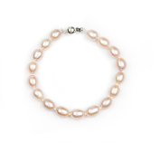"""HinsonGayle AAA 8-8.5mm Oval Freshwater Cultured Pearl Bracelet 7.5""""-Sterling Silver Various Colours"""