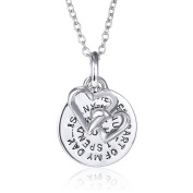 Sephla 14k White Gold Plated Engraved Pendant Necklace For Women