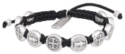 Handwoven Confirmation Blessing Bracelet with Benedictine Medal Charms