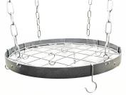 Hammered Steel Round Pot Rack W/ Grid