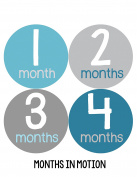 Months in Motion 158 Baby Month Stickers for Newborn Boy Blue Grey