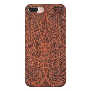 iPhone 7 Plus Case, Axiba Natural Carved Wood Wooden Hard Cover for iPhone 7 Plus 14cm
