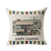 TOPUNDER Happy Campers Pillow Case Sofa Waist Throw Cushion Cover Home Decor