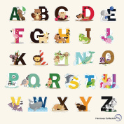 Fun Educational Alphabet with Animals for Baby Nursery and Kids Rooms - Wall Decor Easy Peel Stickers Decals