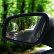 HIJOY Glass Blind Spot Mirror, No-Rim Car Spot Vision Mirror, Convex Rear-View Car Add-on Mirror, Rotatable Angles for Car, Motorcycle, Taxi, Easy DIY Installation