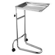 19x 13Inches x 2.5cm Mayo Instrument Stand Adjustable Height w/ Removable Stainless Steel Tray Double Post for Professional Medical Supplies Hospital Patient