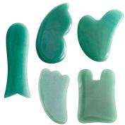 CCbeauty 5 pcs Aventurine Gua Sha Scraping Massage Tools Natural Stone Guasha Board For SPA Acupuncture