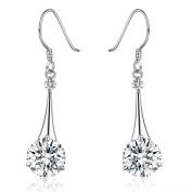 Platinum-Plated Silver Cubic Zirconia Tear Drop Earrings(6.5 cttw)