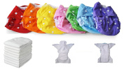 Set of 5 Washable Nappies Pocket + 10 Three Layers Microfibre Inserts -7 Colours - Microfleece