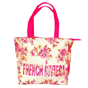 Robin Ruth - Small French Riviera 'Flowered' Shopping Bag - White, Pink
