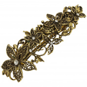Vintage Gold Leafy Barrette Large Hair Clip