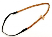 Ban. 62 - - Headband Hair Accessories Hair Band, Faux Suede Camel Woven Bow Tie - Gold